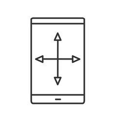 Smartphone display resize linear icon vector