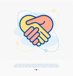 Sponsor thin line icon handshake vector