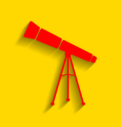 telescope simple sign red icon with soft vector image