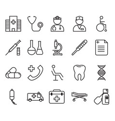 thin line medical icon set vector image