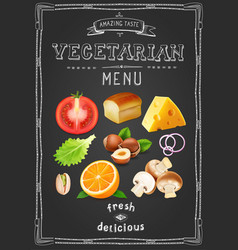 vegetarian menu on chalkboard vintage drawn menu vector image