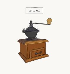 vintage coffee grinder hand drawn sketch vector image