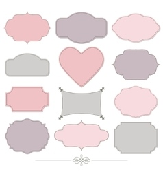 Vintage romantic frames set Valentines design vector image