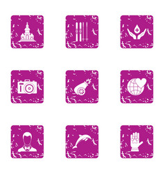 Voluntary donation icons set grunge style vector