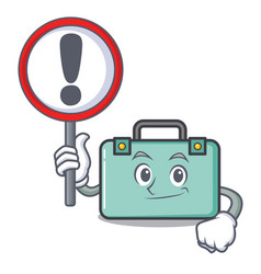 With sign suitcase character cartoon style vector