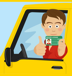 young boy showing his new driver license vector image