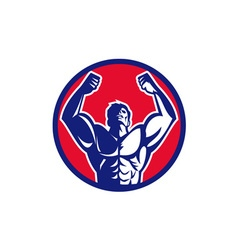Body Builder Flexing Muscles Circle Retro vector image vector image