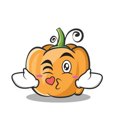 Kissing pumpkin character cartoon style vector