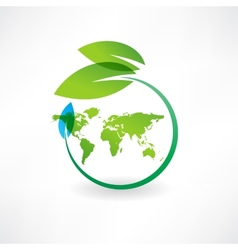 map of the earth and leaves icon vector image
