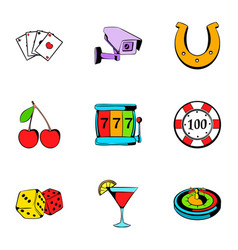 roulette icons set cartoon style vector image vector image