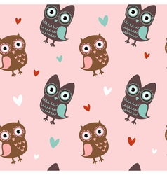 Valentine love seamless texture with cute owls vector image vector image