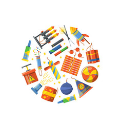 cartoon pyrotechnics gathered in circle vector image vector image