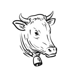 cow with bell sketch farm animal vector image vector image