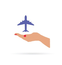 airplane in hand color vector image vector image
