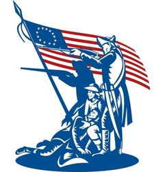 American patriots fighting with Betsy Ross flag vector image