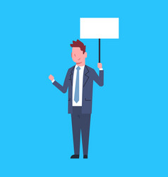 business man hold white empty placard office vector image