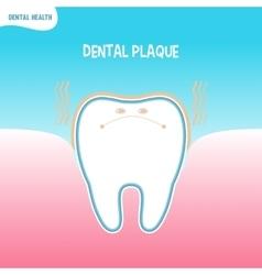 Cartoon bad tooth icon with dental plaque vector