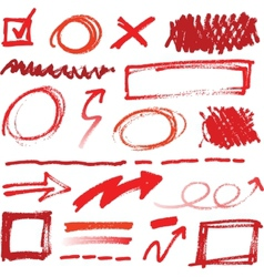 Collection of hand-drawn red pencil corrections vector image vector image