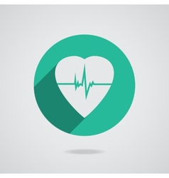 Defibrillator heart icon isolated on teal vector image vector image