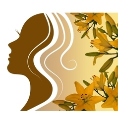 silhouette profile of a beautiful woman with a vector image