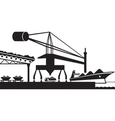 Unload raw materials from cargo ship vector image vector image