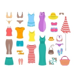 Women casual summer clothes and accessories flat vector image