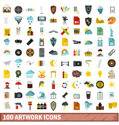 100 artwork icons set flat style vector image vector image