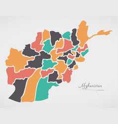 Afghanistan map with states vector