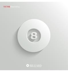 Billiard icon - white app button vector image vector image