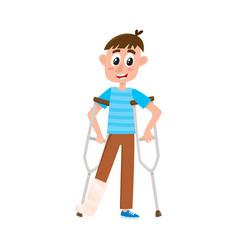 flat boy with broken leg on crutches vector image