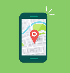 smartphone with navigation app and red pin vector image