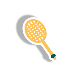 Stylish icon in paper sticker style tennis racquet vector