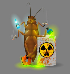 A giant cockroach drinks a radioactive cola and vector