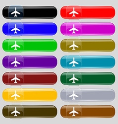 airplane icon sign Set from fourteen multi-colored vector image