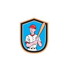 American Baseball Player Bat Shield Cartoon vector image