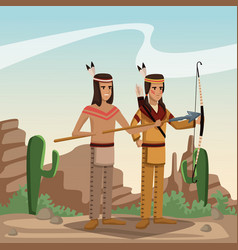 American indian cartoon in desert vector