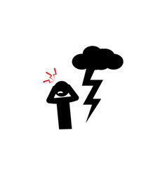 Astraphobia fear icon on white background can be vector