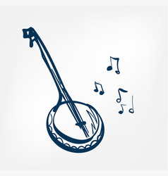 banjo sketch line design isolated music vector image