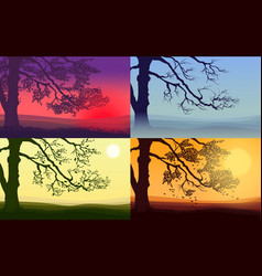 Beautiful colorful trees set vector