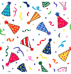 Birthday hats repeat pattern vector