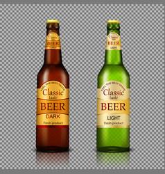branded bottles of beer realistic vector image