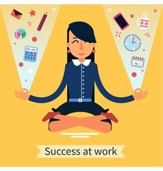 Businesswoman in Yoga Pose Multitasking Work vector
