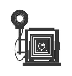 Camera with flash icon Gadget design vector image