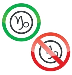 Capricorn permission signs vector