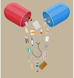 capsule with different pills and medical devices vector image