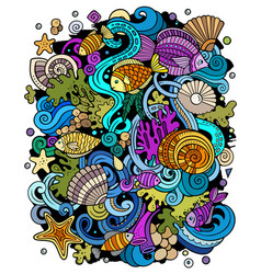 Cartoon doodles underwater world funny vector