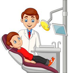 cartoon little boy in dentist office vector image