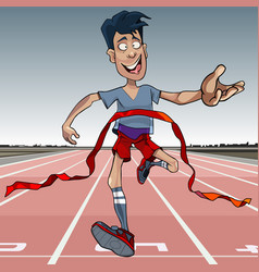 cartoon man first reaches the finish line vector image