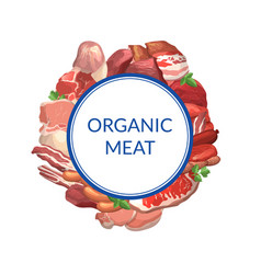 cartoon meat elements under circle with vector image
