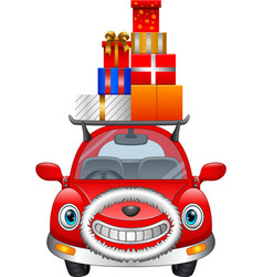 cartoon red car carrying christmas gift boxes on i vector image